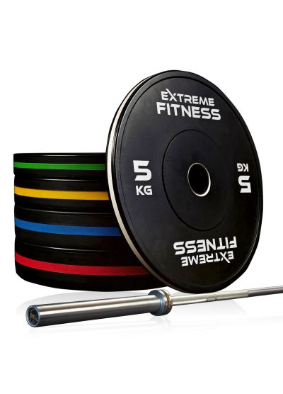 Extreme Fitness Elite Bumper Plates and Bar Package