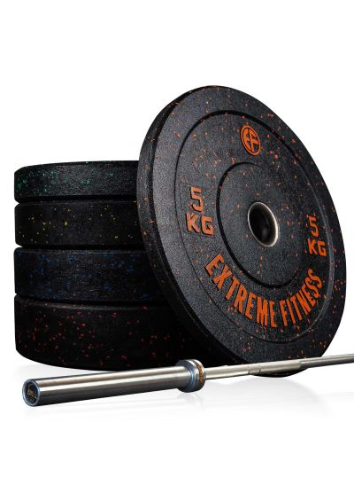 Extreme Fitness Hi Temp Bumper Plates and Bar Package
