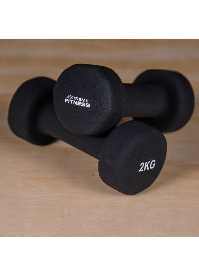 Extreme Fitness Black Neoprene Dumbbells