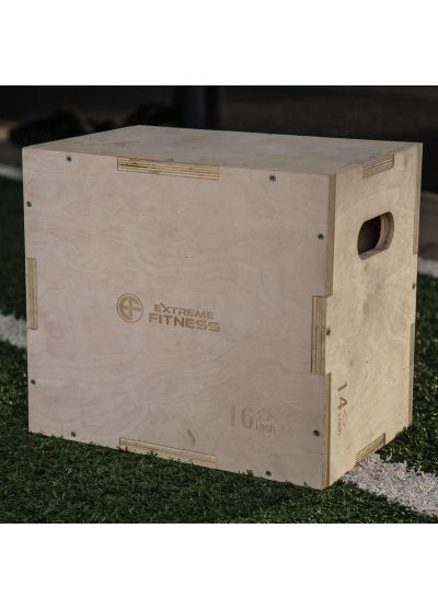 "Extreme Fitness 3 in 1 Wooden Plyo Box 18"" x 16"" x 12"""